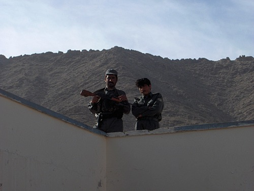 Afghan police officers on guard in Chora District, Uruzgan