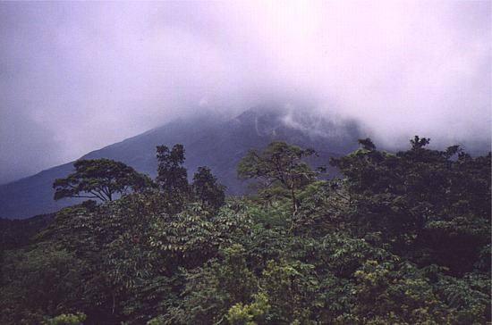 Volcano Arenal in the clouds
