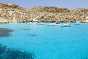Het eiland Lampedusa, Italië