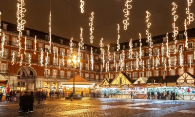 Kerstmarkt in Madrid, Spanje