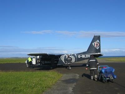 Luchthaven van Papa Westray in Orkney, Schotland