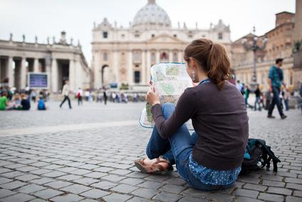 Student op vakantie in Rome
