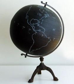 Krijtbord wereldbol
